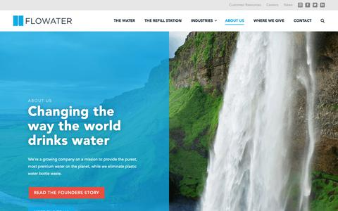 Screenshot of About Page myflowater.com - Sustainable Water Dispenser | Electrolyte, Alkaline Water | FloWater - captured Nov. 14, 2018