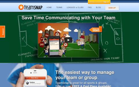 Screenshot of Home Page teamsnap.com - Manage Your Team Online with TeamSnap's Free Sports Team Websites - captured July 17, 2014