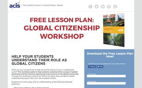 Screenshot of Landing Page acis.com - Global Citizenship Lesson Plan Workshop - captured March 30, 2017
