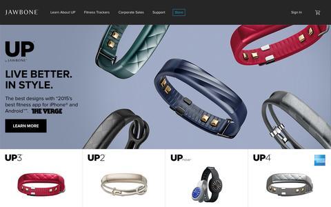 Screenshot of Home Page aliph.com - Jawbone   UP Fitness Trackers   JAMBOX Speakers   ERA Bluetooth Headset - captured Nov. 24, 2015