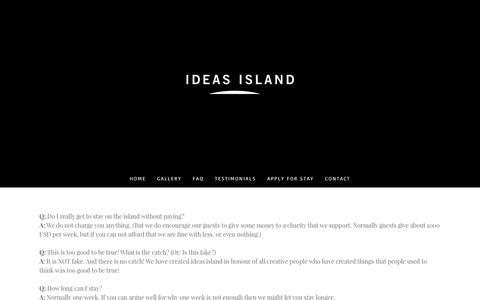 Screenshot of FAQ Page ideasisland.com - FAQ - Ideas Island - captured Oct. 14, 2017