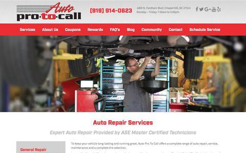 Screenshot of Services Page autoprotocall.com - Auto Repair Service Chapel Hill NC � Auto Pro To Call Mechanics - captured Dec. 27, 2015