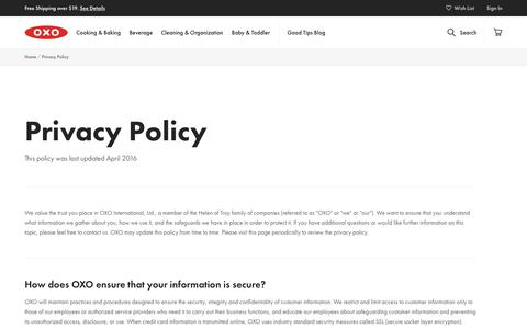 Screenshot of Privacy Page oxo.com - Privacy Policy - captured Dec. 10, 2018