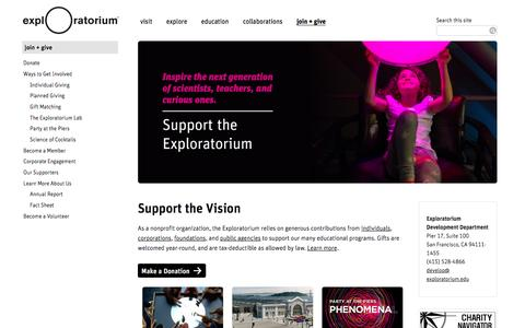 Screenshot of Support Page exploratorium.edu - Join + Give | Exploratorium - captured May 24, 2017