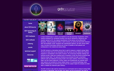 Screenshot of Home Page gdvsource.com - Kirlian & GDV Photography Camera | GDV Source - captured Jan. 22, 2016