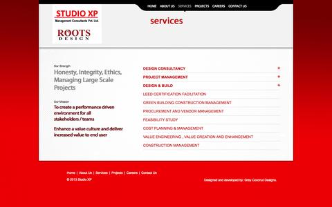 Screenshot of Services Page studioxp.in - Services | STUDIO XP Management Consultants Pvt. Ltd. - captured Oct. 9, 2014