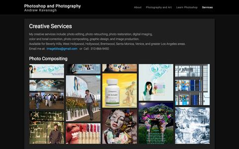 Screenshot of Services Page andrewkavanagh.com - Creative Services | Photoshop | Photo Retouching | Design - captured Jan. 28, 2016