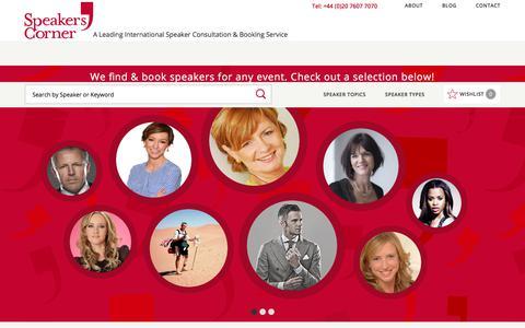 Screenshot of Home Page speakerscorner.co.uk - Speakers Corner - Speaker Bureau - Motivational & After Dinner Speaker | Speakers Corner - captured June 15, 2017