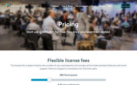 Screenshot of Pricing Page b2match.com - Pricing | Matchmaking Event Tool | b2match - captured Nov. 13, 2016