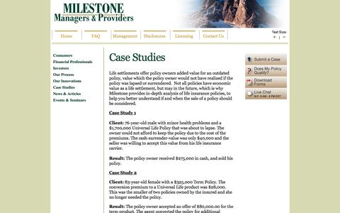 Screenshot of Case Studies Page milestonesettlements.com - Case Studies - Life Settlements | MILESTONE | Life Settlement Provider for Consumers, Insurance Agents, Brokers, Investors - captured Feb. 27, 2016