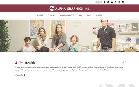 Screenshot of Testimonials Page alpha-graphics.net - Testimonials  | Alpha Graphics Inc. - captured Oct. 8, 2017