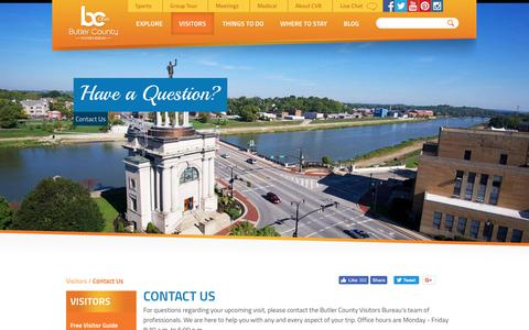 Screenshot of Contact Page gettothebc.com - Contact Butler County Visitors Bureau - captured Oct. 7, 2018