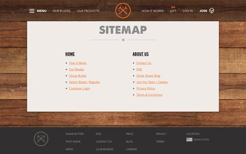 Screenshot of Site Map Page dollarshaveclub.com - Site Map | Dollar Shave Club - captured Dec. 17, 2014