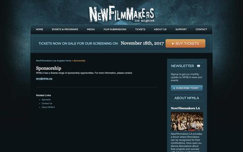 Screenshot of Support Page newfilmmakersla.com - Support - LA Film Festival NewFilmmakers Los Angeles - captured Oct. 28, 2017