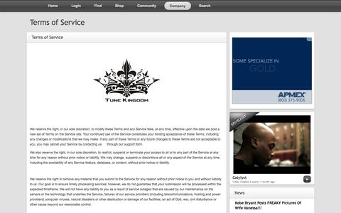 Screenshot of Terms Page tunekingdom.com - Tune Kingdom | Terms of Service - captured Oct. 7, 2014