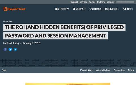 Screenshot of Team Page beyondtrust.com - The ROI (and Hidden Benefits) of Privileged Password and Session Management | BeyondTrust - captured Jan. 3, 2020