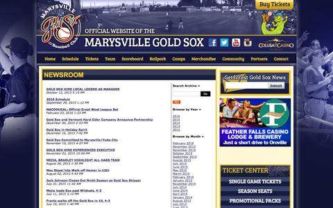 Screenshot of Press Page goldsox.com - Official Website of the Marysville Gold Sox: Newsroom - captured Feb. 12, 2016