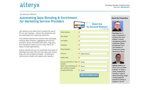 Screenshot of Landing Page alteryx.com - Automating Data Blending and Enrichment for Marketing Service Providers - captured May 31, 2016