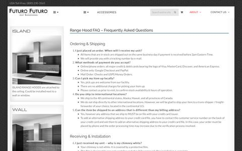 Screenshot of FAQ Page futurofuturo.com - Range Hood FAQ - Frequently Asked Questions | Futuro Futuro Range Hoods - captured Sept. 4, 2018