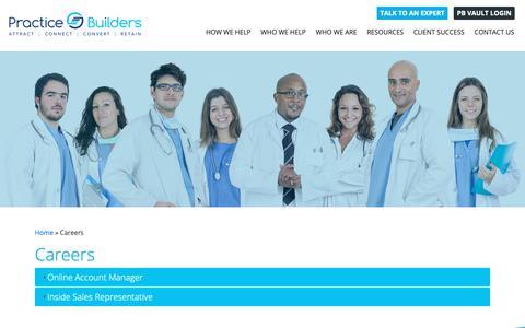 Screenshot of Jobs Page practicebuilders.com - Careers - captured June 16, 2019