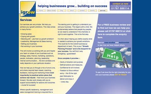 Screenshot of Services Page igrowbusinesses.co.uk - Services from igrow | Business Growth Specialists in Bedfordshire - captured Sept. 30, 2014