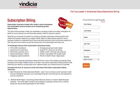 Screenshot of Landing Page vindicia.com - Enterprise Subscription Billing - Recurring Billing Software & Platform | Vindicia - captured Aug. 6, 2016