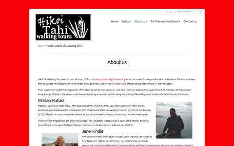 Screenshot of About Page hikoitahiwalks.co.nz - Hikoi Tahi Walking Tours founders | Hikoi Tahi Walking Tours - captured Jan. 30, 2016
