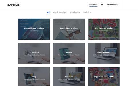 Screenshot of Home Page klausfejer.com - Grafisk designer og marketingkoordinator - Klaus Fejer - captured Sept. 20, 2018
