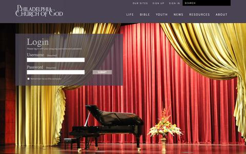 Screenshot of Login Page pcog.org - Login | Philadelphia Church of God - captured Oct. 30, 2014
