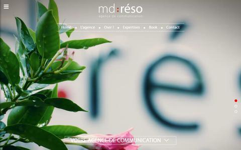 Screenshot of Home Page mdreso.com - Agence de communication Lyon | md:réso, agence de communication web Lyon - captured March 4, 2016