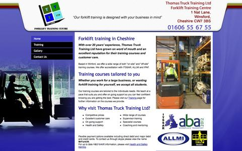 Screenshot of Home Page cheshireforklifttraining.co.uk - Need forklift training in Cheshire? Visit Thomas Truck Training today - captured Oct. 7, 2014
