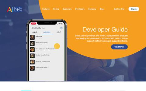 Screenshot of Developers Page aihelp.net - DEVELOPER | Integrate In-app messaging SDK and Enjoy AI Services - captured July 10, 2018