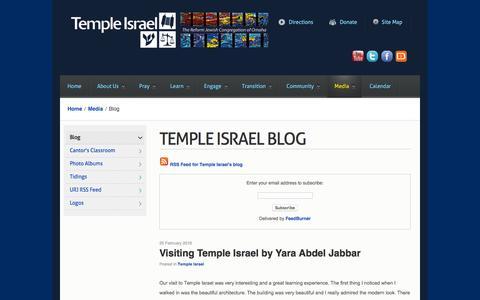 Screenshot of Blog templeisraelomaha.com - Blog - captured March 7, 2016