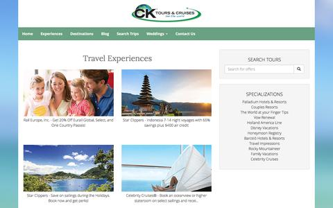 Screenshot of Products Page cktours.com - Our Products - captured Oct. 6, 2016