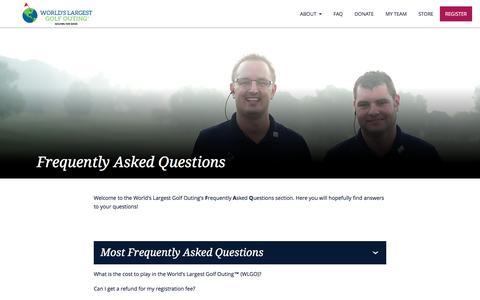 Screenshot of FAQ Page worldslargestgolfouting.com - FAQ | World's Largest Golf Outing - captured Jan. 27, 2017