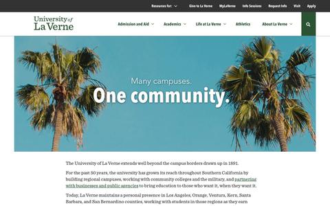 Screenshot of Locations Page laverne.edu - Locations Throughout California | University of La Verne - captured Oct. 5, 2018