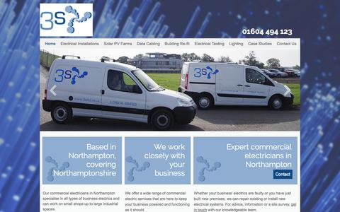 Screenshot of Home Page 3sltd.co.uk - Reliable commercial electricians in Northampton & Northamptonshire at 3s - captured Oct. 7, 2014