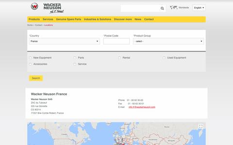 Screenshot of Contact Page Locations Page wackerneuson.fr - Locations | Wacker Neuson - captured Feb. 14, 2018