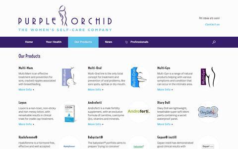 Screenshot of Products Page purpleorchidpharma.com - Our Products Archives - Purple Orchid Pharma - captured Nov. 1, 2014