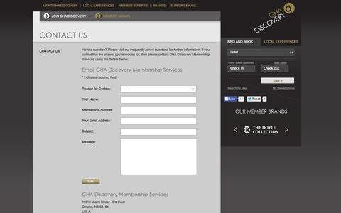 Screenshot of Contact Page gha.com - Contact Us - Global Hotel Alliance - captured Sept. 19, 2014