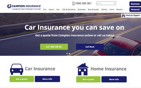 Screenshot of Home Page campionins.com - Campion Insurance - Home Insurance   Campion Insurance Ireland - captured Oct. 18, 2016