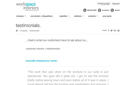 Screenshot of Testimonials Page workspaceinteriors.com - customer stories - workspace interiors, inc. - captured Oct. 18, 2018