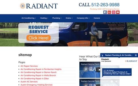 Screenshot of Site Map Page radiantplumbing.com - sitemap - Radiant Plumbing - captured Sept. 20, 2018