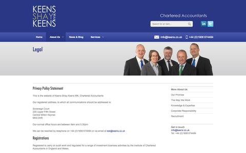 Screenshot of Terms Page keens.co.uk - Legal - KSK Accountants Milton Keynes - Chartered Accountants - captured Oct. 6, 2014