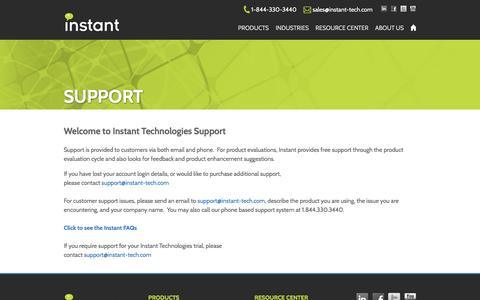 Screenshot of Support Page instant-tech.com - Technical Support | Instant Technologies - captured Feb. 11, 2016