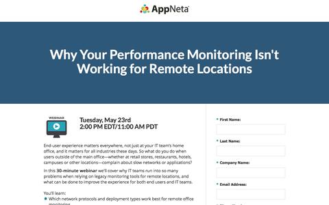 Screenshot of Landing Page appneta.com - End-User Performance Monitoring for Remote Locations - captured May 19, 2017