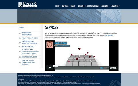 Screenshot of Services Page knoxcapitalgroup.com - Services   Knox Capital - captured Sept. 30, 2014