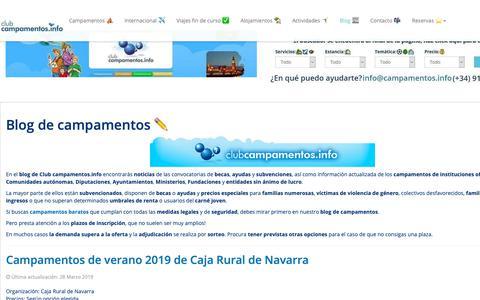 Screenshot of Blog campamentos.info - ⛺️ Blog de campamentos  - captured March 28, 2019