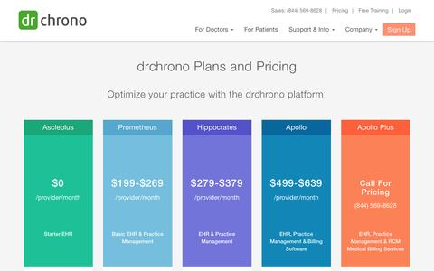 Screenshot of Pricing Page drchrono.com - Plans & Pricing | drchrono - captured May 12, 2016
