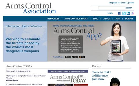 Screenshot of Home Page armscontrol.org - Arms Control Association | The authoritative source on arms control since 1971. - captured Aug. 27, 2016